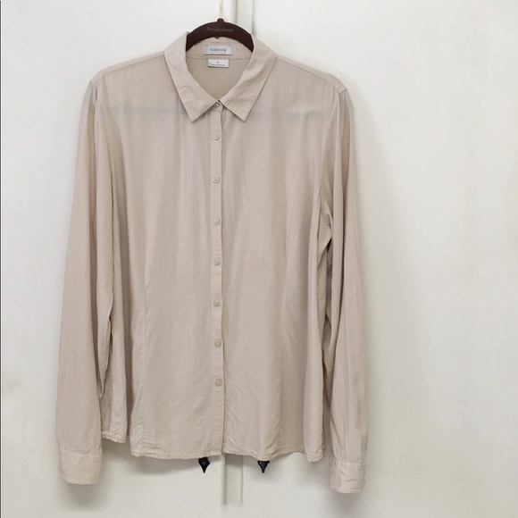 Van Heusen Tops - Van Heusen Rayon Tan Long Sleeve Blouse Size XL